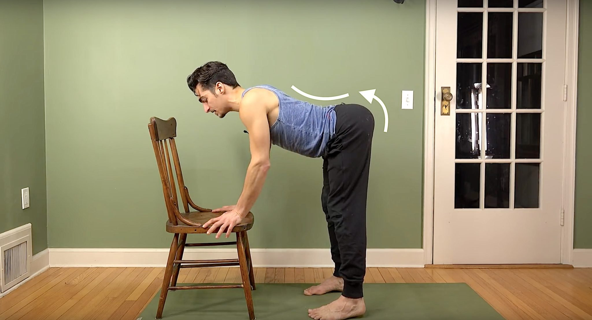hamstring stretch with low back strength for chair yoga