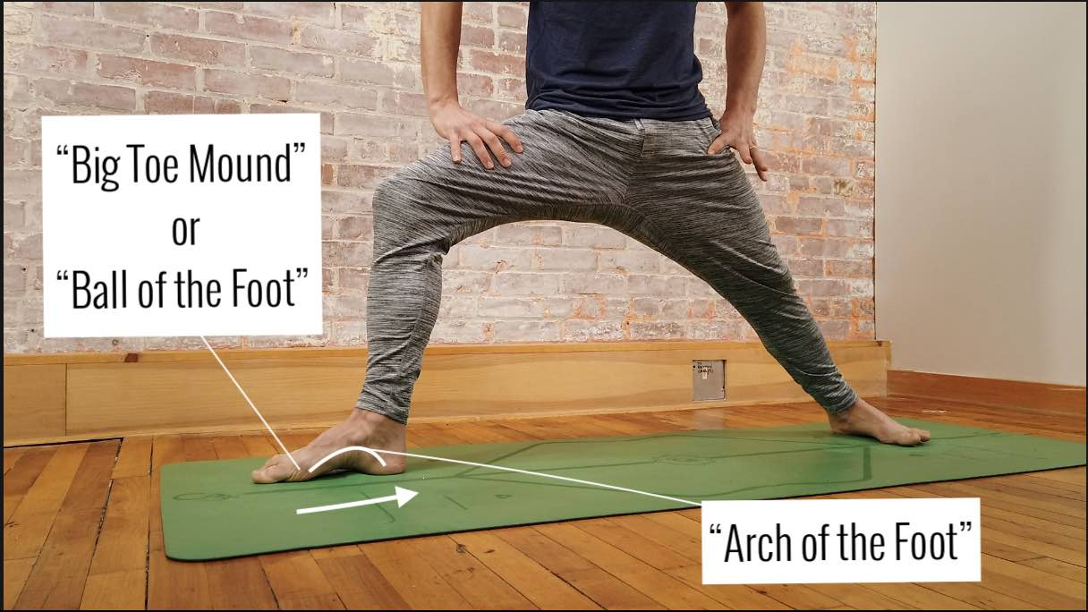 arch of the foot in warrior 2 yoga pose