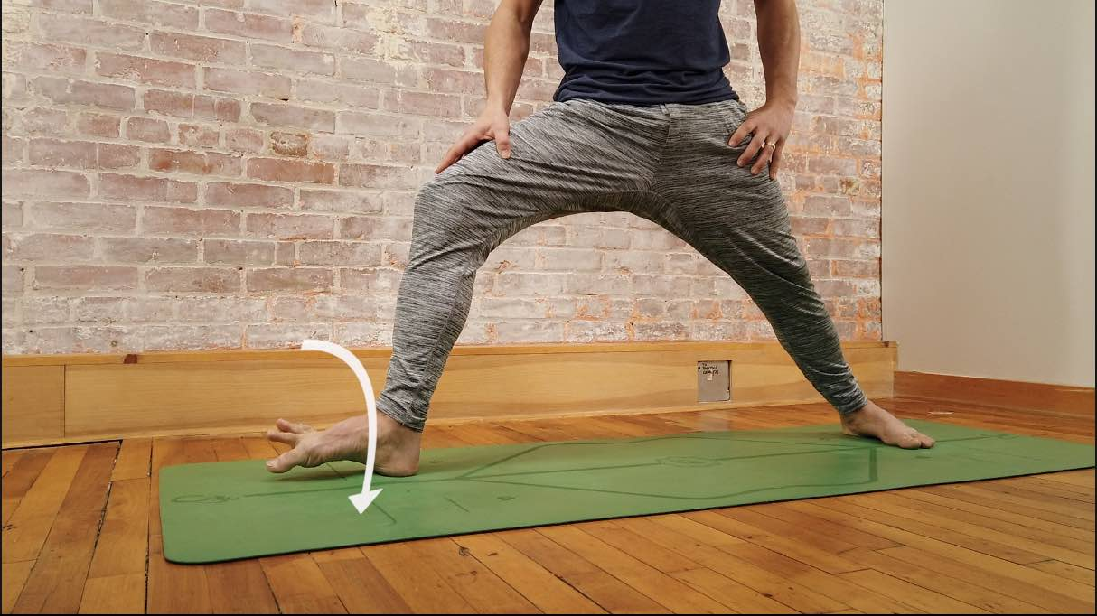 evert the ankle in warrior 2 yoga pose