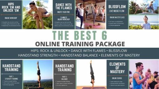 online yoga classes package with handstand and hip openers