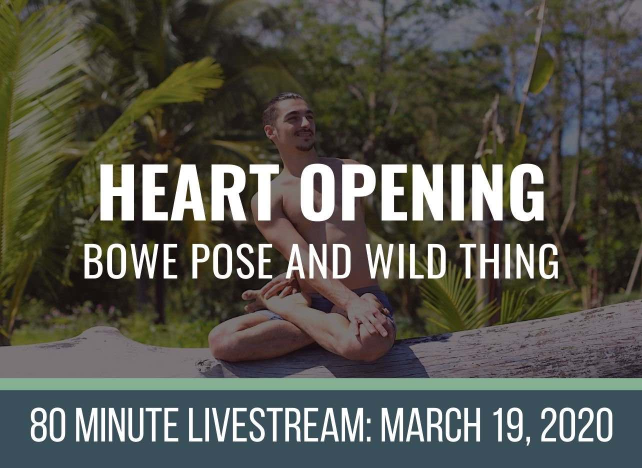 online yoga class heart opening bow and wild thing